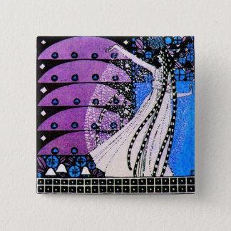 MAGIC OF THE SPRING bright blue black white purple Pinback Button