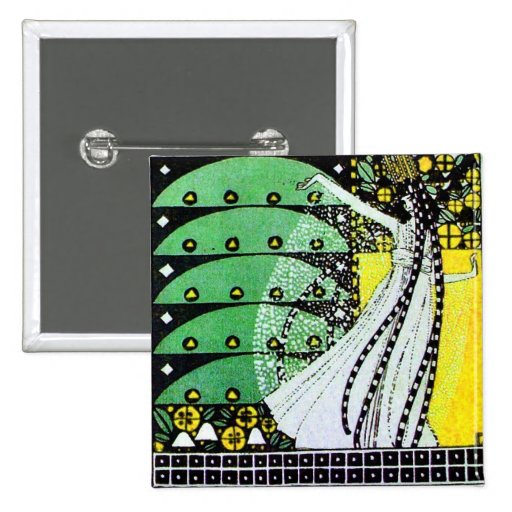 MAGIC OF THE SPRING bright green black  yellow 2 Inch Square Button