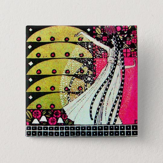 MAGIC OF THE SPRING bright pink black white yellow Button