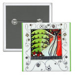 MAGIC OF THE SPRING bright red black white green 2 Inch Square Button