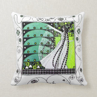 MAGIC OF THE  SPRING ,bright yellow green black Pillow
