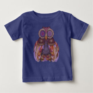 Magic owl.Collage with lace and feathers Baby T-Shirt