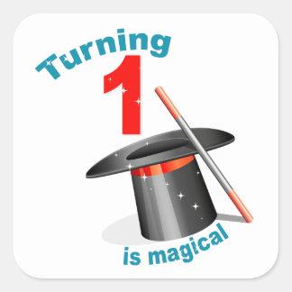 Magic Party 1st Birthday Square Sticker
