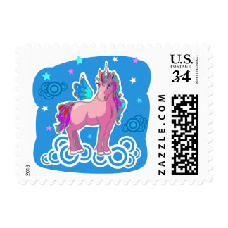 Magic Pink Cute Unicorn with wings Postage