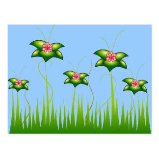 Magic Pink flower garden - Customized Postcard