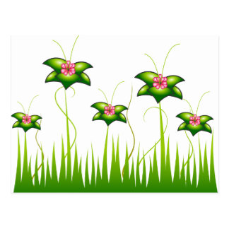 Magic Pink flower garden Postcard