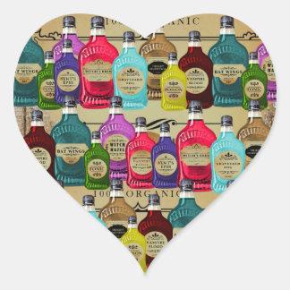 Magic Potion Apothecary Halloween Tonic Bottles Heart Sticker