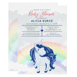 Magic Rainbow Glitter Unicorn Boys Baby Shower Card