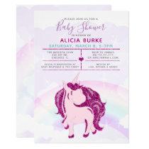 Magic Rainbow Glitter Unicorn Girls Baby Shower Card