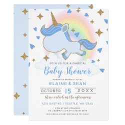 Magic Rainbow Unicorn Boys Baby Shower Card