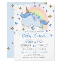 Magic Rainbow Unicorn Boys Baby Shower Card