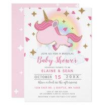 Magic Rainbow Unicorn Girls Baby Shower Card