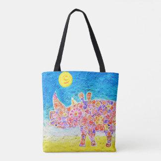 Magic Rhyno and sunset Tote Bag