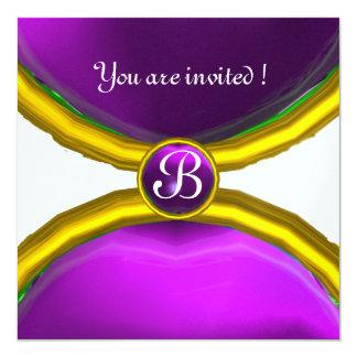 MAGIC RINGS ,MONOGRAM gem purple ice 5.25x5.25 Square Paper Invitation Card