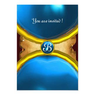 MAGIC RINGS ,MONOGRAM parchment gem blue 5x7 Paper Invitation Card