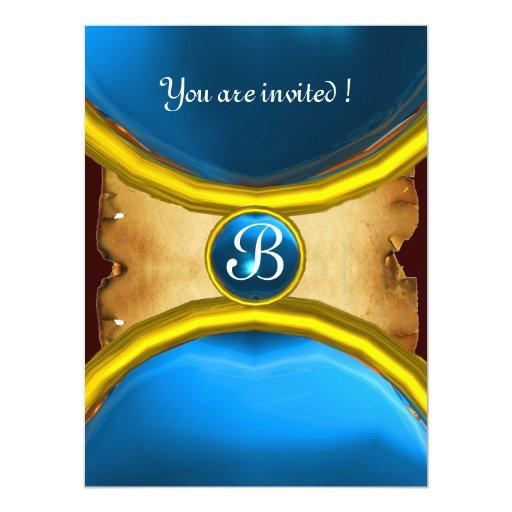 MAGIC RINGS ,MONOGRAM parchment gem blue Invitations