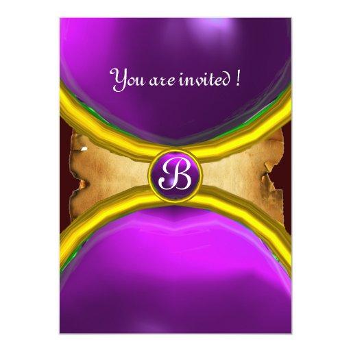 MAGIC RINGS ,MONOGRAM parchment gem purple Card