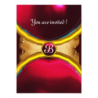 MAGIC RINGS ,MONOGRAM parchment gem red burgundy 5.5x7.5 Paper Invitation Card