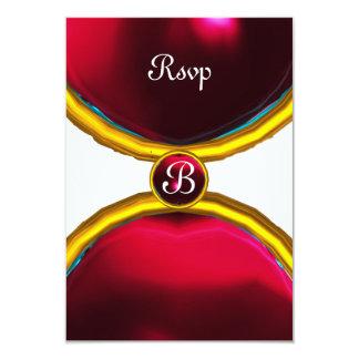 MAGIC RINGS ,MONOGRAM rsvp gem red burgundy 3.5x5 Paper Invitation Card