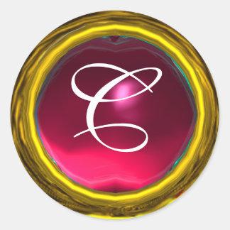MAGIC RUBY MONOGRAM bright vibrant yellow pink red Classic Round Sticker