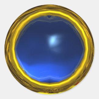 MAGIC SAPPHIRE , bright vibrant blue yellow Round Stickers