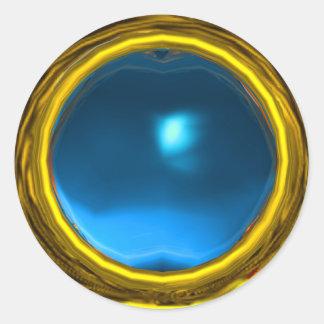MAGIC SAPPHIRE , bright vibrant yellow blue Round Stickers