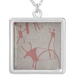 Magic scenes square pendant necklace