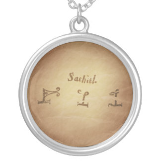 Magic Seal Angel Sachiel Protection Magic Charms Silver Plated Necklace