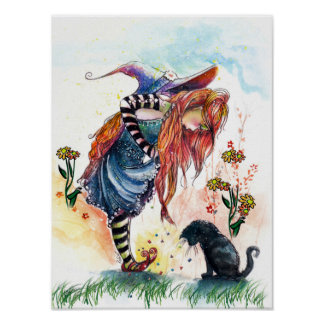 Magic Shoes, Witch and Cat Poster Poster