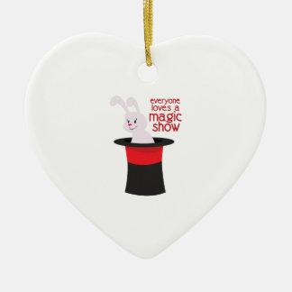 Magic Show Double-Sided Heart Ceramic Christmas Ornament