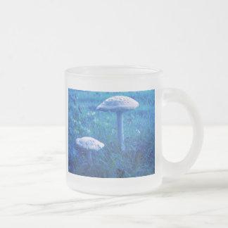 Magic Shroom In Blue Frosted Glass Coffee Mug