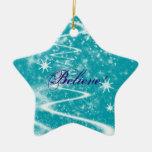 Magic Snow Sparkle Christmas Double-Sided Star Ceramic Christmas Ornament