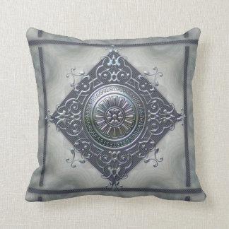 Magic Snowflake Denim Look Throw Pillow