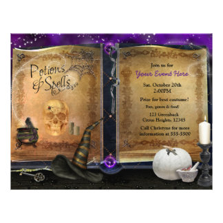 Magic Spell Book Halloween Party Event Flyer