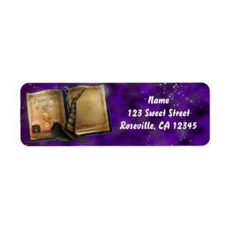Magic Spell Book Halloween Witch Address Label