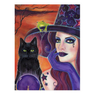 Magic spell Halloween witch with black cat. Postcard