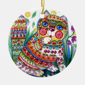 magic spring cat ceramic ornament
