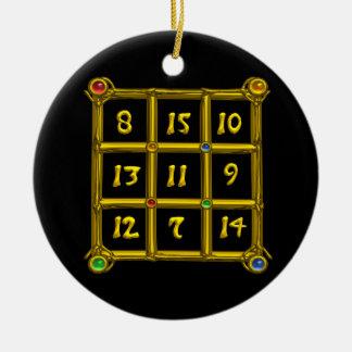 MAGIC SQUARE 33 ,Black and White Ceramic Ornament