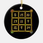 MAGIC SQUARE 33 ,Black and White Christmas Tree Ornaments