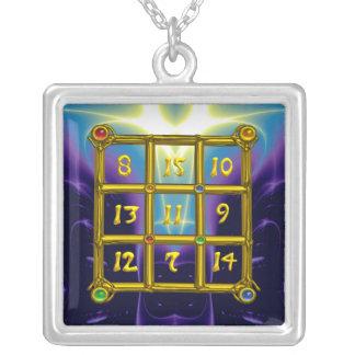 MAGIC SQUARE 33, blue purple Silver Plated Necklace