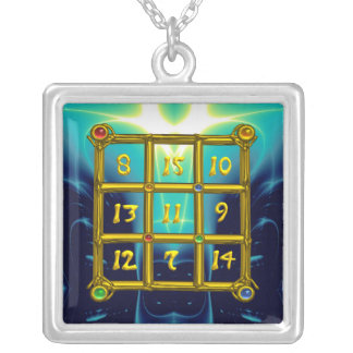 MAGIC SQUARE 33, blue turquase Silver Plated Necklace