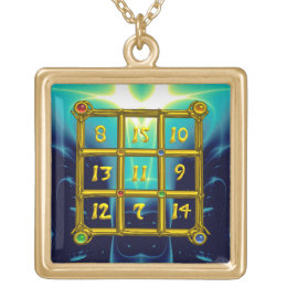 MAGIC SQUARE 33, green Gold Plated Necklace