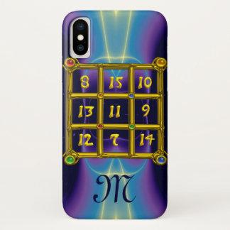 MAGIC SQUARE 33 MONOGRAM Teal, Aqua Blue Purple iPhone X Case
