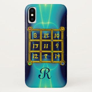 MAGIC SQUARE 33 MONOGRAM Teal, Aqua Blue Turquoise iPhone X Case