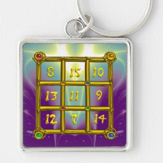 MAGIC SQUARE 33 , Pink Violet Purple Blue Keychain