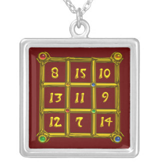 MAGIC SQUARE 33, red Silver Plated Necklace