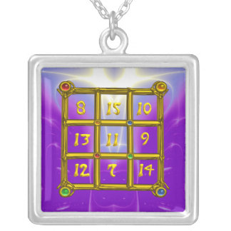 MAGIC SQUARE 33, violet purple Silver Plated Necklace