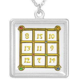 MAGIC SQUARE 33, white Silver Plated Necklace