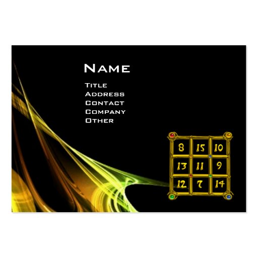 MAGIC SQUARE 33 , Yellow Brown Black Business Card Templates
