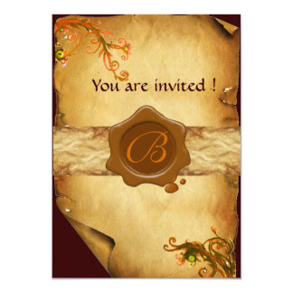 MAGIC SWIRLS PARCHMENT AND BROWN WAX SEAL MONOGRAM 5X7 PAPER INVITATION CARD